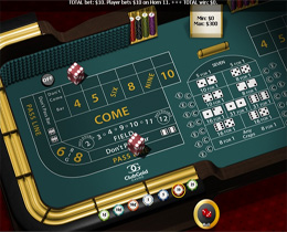 Screenshot of a Typical Craps Table